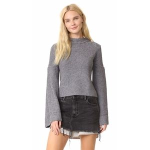 Endless Rose Gray Knit Bell Sleeve Sweater